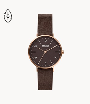 Aaren Naturals Three-Hand Wine Leather Alternative Made With Mulberry Watch