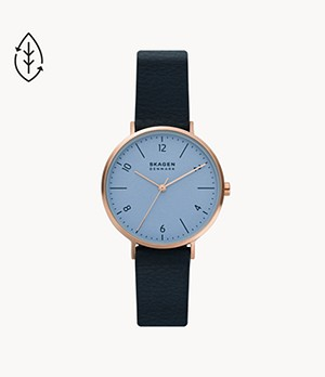 Aaren Naturals Three-Hand Blue Leather Alternative Made With Apple Watch