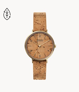 Aaren Naturals Three-Hand Tan Leather Alternative Made With Cork Watch