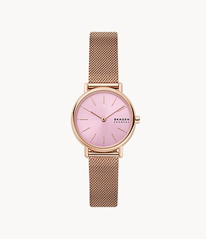 Signatur Two-Hand Rose-Tone Steel-Mesh Watch