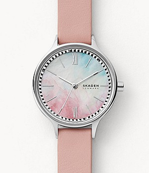 Anita Three-Hand Pink Leather Watch