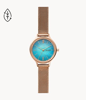 Anita Three-Hand Rose-Tone Steel-Mesh Watch