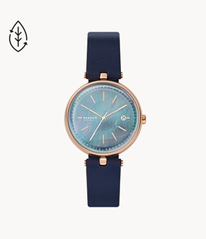 Karolina Solar Three-Hand Date Blue Leather Watch