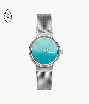 Freja Two-Hand Silver-Tone Steel-Mesh Watch