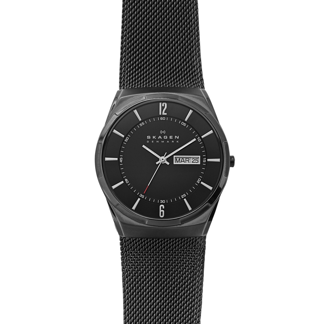 Melbye Titanium And Black Steel-Mesh Day-Date Watch  - SKW6006