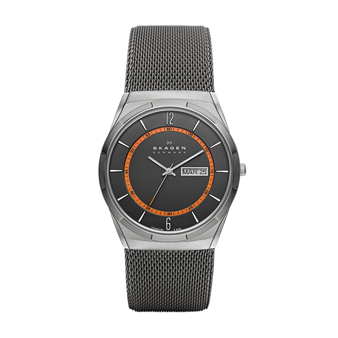 Melbye Titanium And Gray Steel-Mesh Day-Date Watch  - SKW6007