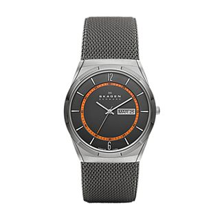 Melbye Titanium and Gray Steel-Mesh Day-Date Watch