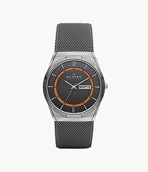 Melbye Titanium and Grey Steel-Mesh Day-Date Watch