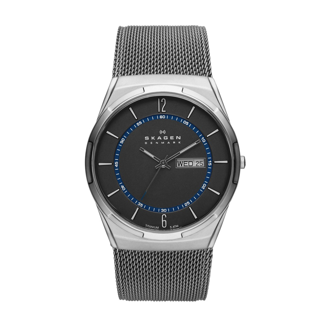 Melbye Titanium And Gray Steel-Mesh Day-Date Watch  - SKW6078