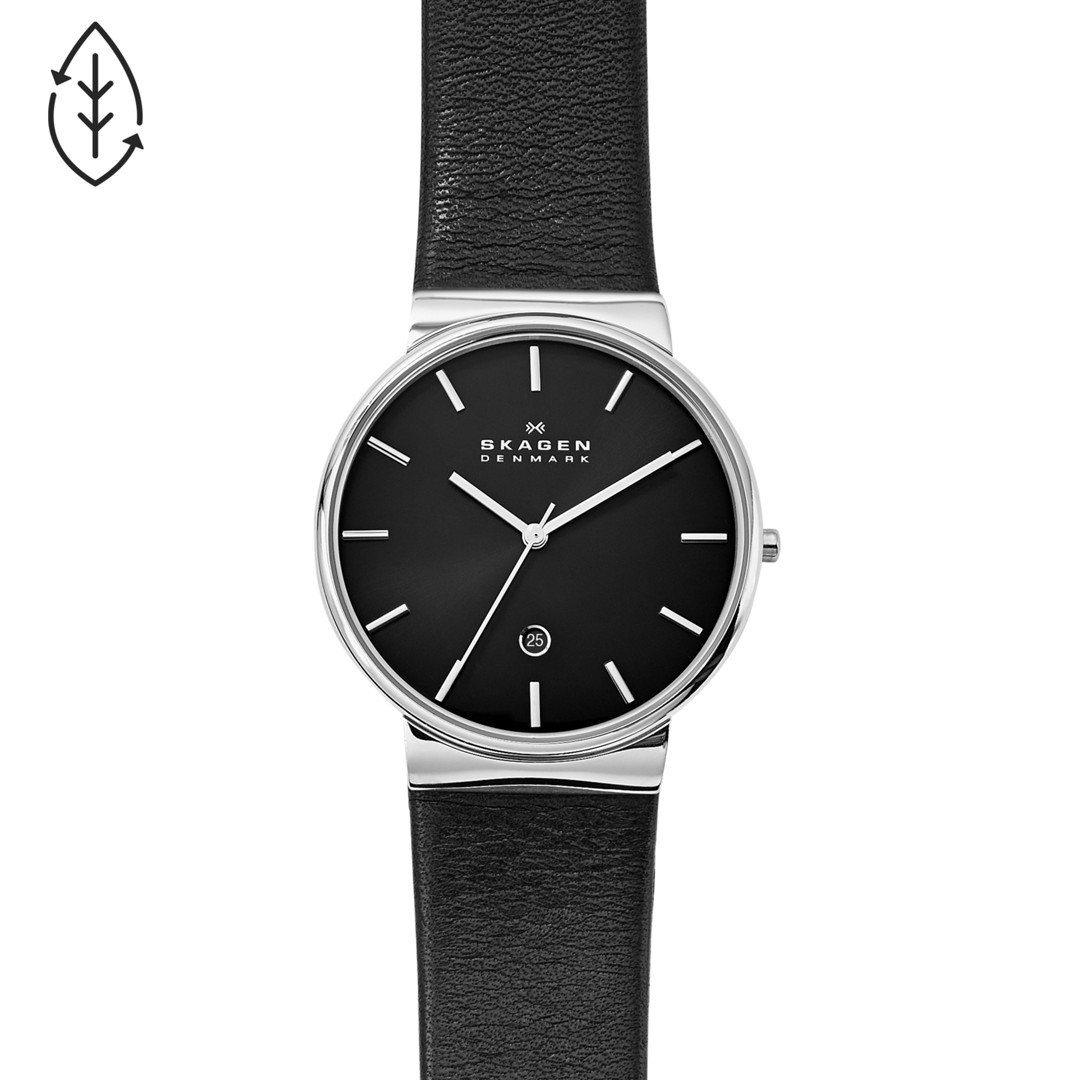 Ancher Black Leather Watch  - SKW6104