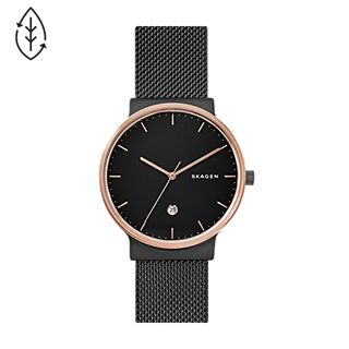 Ancher Black Steel-Mesh Watch