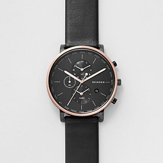 Hagen World Time and Alarm Leather Watch