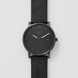 Hagen Black Leather Watch