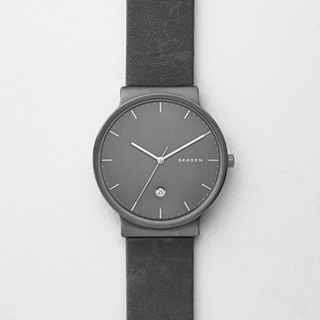 Ancher Titanium and Gray Leather Watch