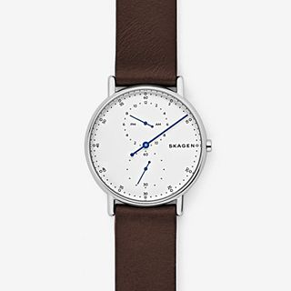 Signatur One-Hand Maroon Leather Watch