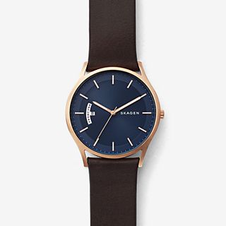 Holst Dark Brown Leather Day Date Watch