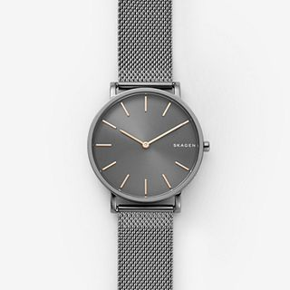 Hagen Slim Dark Grey Steel-Mesh Watch