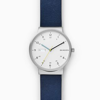 Ancher Blue Leather Day-Date Watch