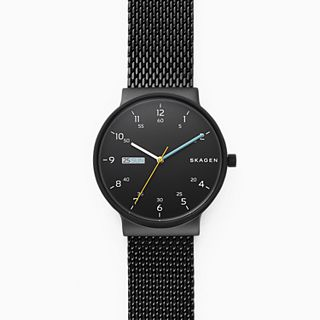 Ancher Black Stainless Steel-Mesh Day-Date Watch