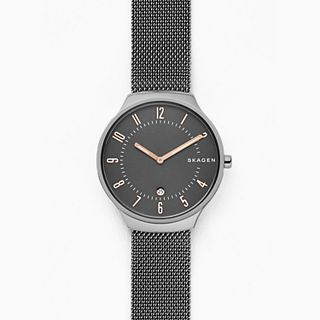 Grenen Dark Grey Titanium and Stainless Steel-Mesh Watch