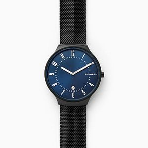 Grenen Black Steel-Mesh Watch