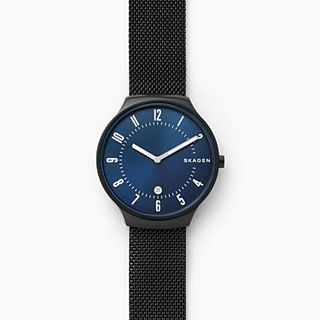 Grenen Black Stainless Steel-Mesh Watch