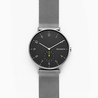 Aaren Dark Grey Steel-Mesh Watch