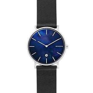 Hagen Slim Mother-of-Pearl Black Leather Watch