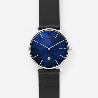 Hagen Slim Mother-of-Pearl Black Leather Watch