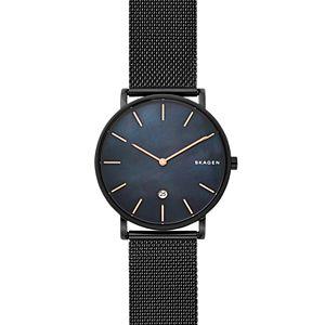 Hagen Slim Mother-of-Pearl Black Steel-Mesh Watch