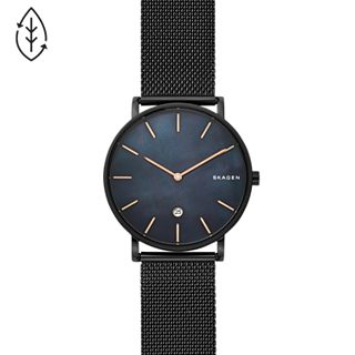 Hagen Slim Mother-of-Pearl Black Steel-Mesh Watch