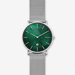Hagen Slim Mother-of-Pearl Steel-Mesh Watch