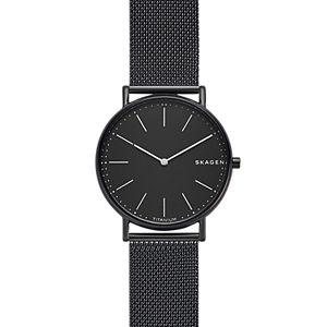 Signatur Slim Titanium and Black Steel-Mesh Watch
