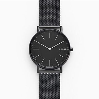 Signatur Slim Titanium and Black Steel-Mesh Watch