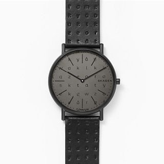 Signatur Slim Alphabet Black Leather Watch