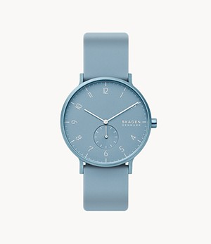 Aaren Kulor Light Blue Silicone 41mm Watch