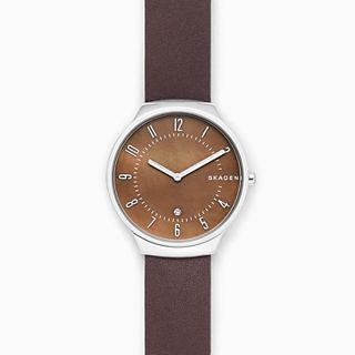 Grenen Brown Leather Mother-of-Pearl Watch