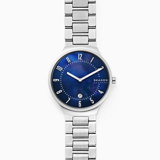 Grenen Steel-Link Mother-Of-Pearl Watch