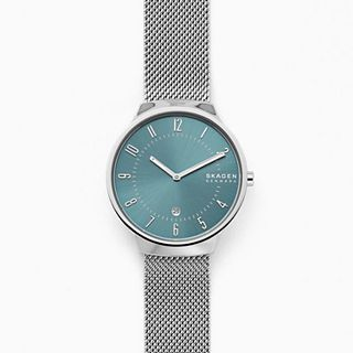Grenen Slim Silver-Tone Steel-Mesh Watch