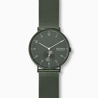 Aaren Kulor Matte Green Steel-Mesh 40mm Watch