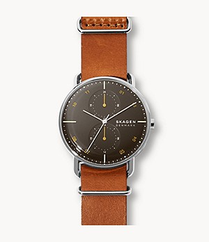 Horizont Brown Leather Dual Time Watch