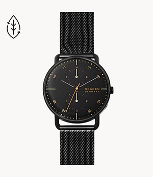 Horizont Black Steel-Mesh Dual Time Watch