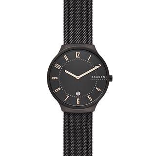 Grenen Black Steel-Mesh Watch