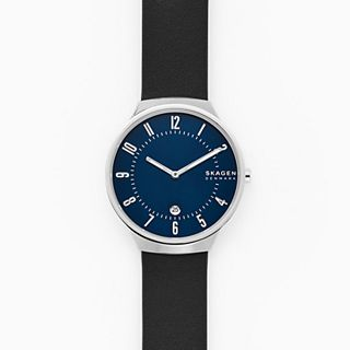 Grenen Two-Hand Date Black Leather Watch