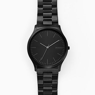 Jorn Three-Hand Black Stainless Steel Watch