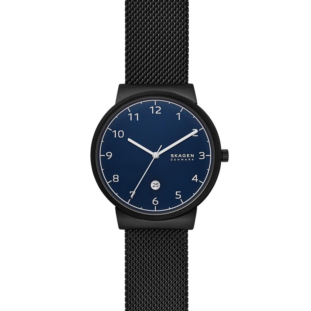 Ancher Three-Hand Date Black Steel-Mesh Watch  - SKW6566