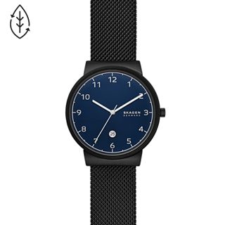 Ancher Three-Hand Date Black Steel-Mesh Watch
