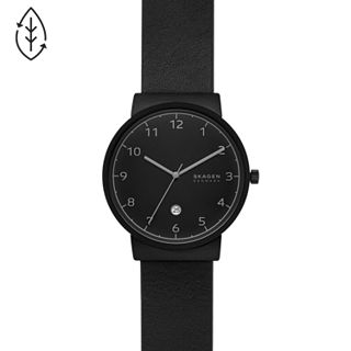 Ancher Three-Hand Date Black Leather Watch