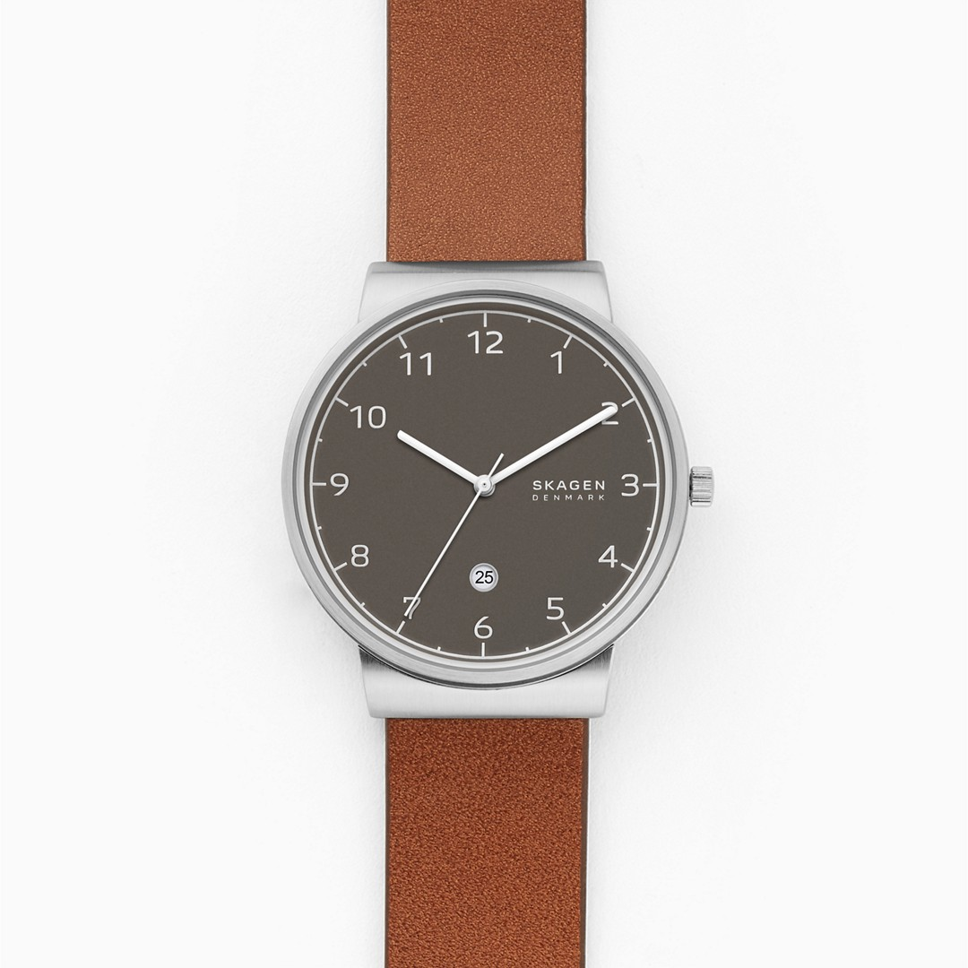 Ancher Three-Hand Date Brown Leather Watch  - SKW6568