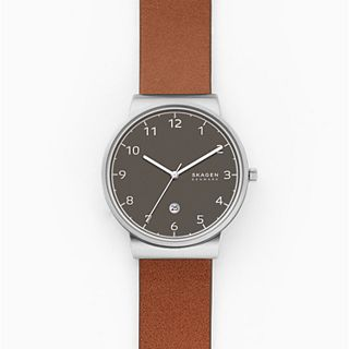 Ancher Three-Hand Date Brown Leather Watch